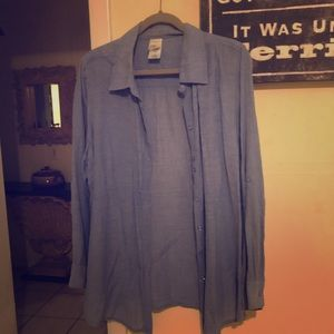 Blue Jean Color Pretty Button Down Shirt